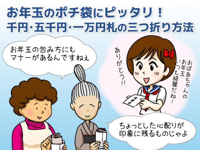 お年玉のポチ袋にピッタリ千円五千円一万円札の三つ折り方法